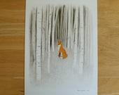 Fox in the Woods Illustration - 9x12 Archival Digital Art Print