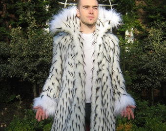 Custom Regal MEN'S Faux FUR COAT with Stand-up Collar, Contrast Trim, 4 pockets, Lined