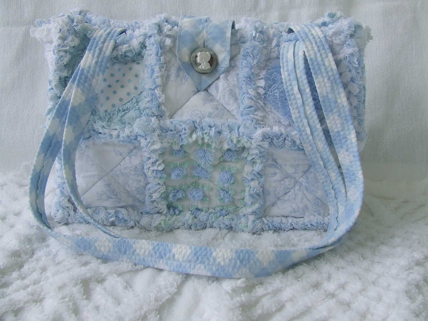 Rag Quilted Handbag Pattern : Rag Quilt Purse Tote Diaper Bag Instructions Pattern How To