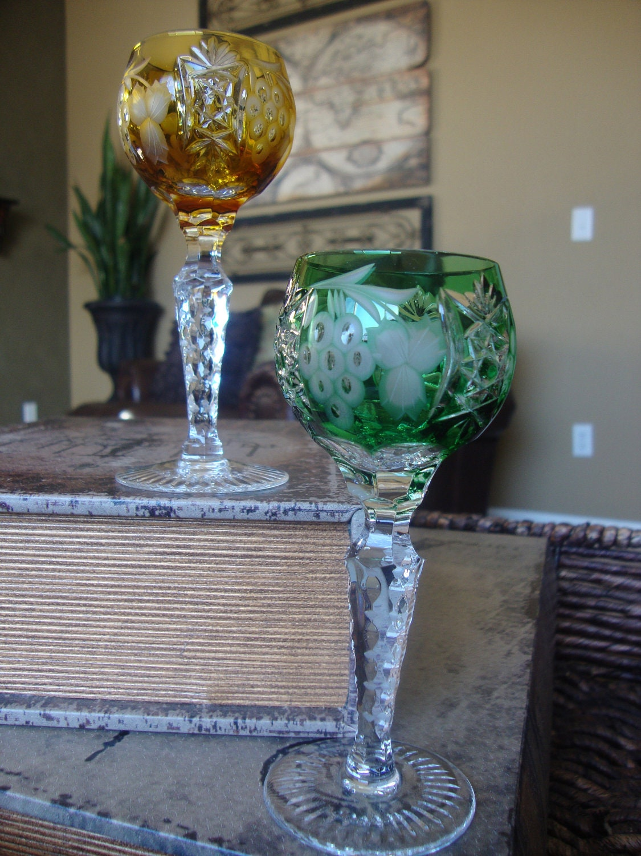 Vintage Ajka Crystal Cordial Glasses Golden Amber And Emerald