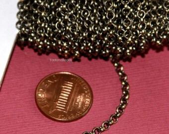 32ft of Antique brass Rollo chain 3mm   solder links