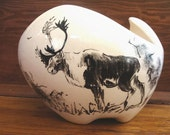 Vintage Bering Sea Originals Alaskan Indian Handpainted Bowl/Vase Caribou Reindeer Free Shipping US