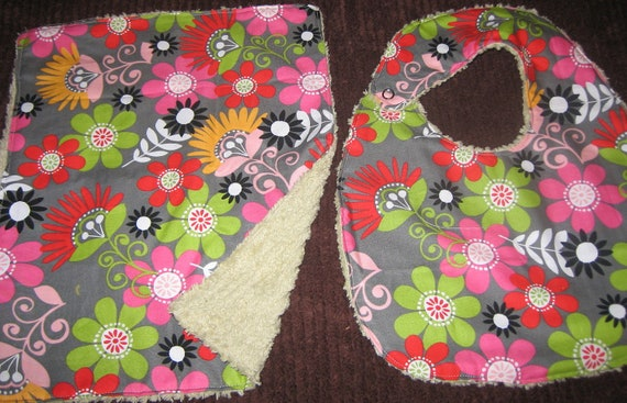 Beautiful Flowers and Chenille Baby Bib and Burp Cloth Set