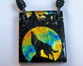Wolf Pendant - Twilight Inspired - Team Jacob - Fused Dichroic Glass Necklace