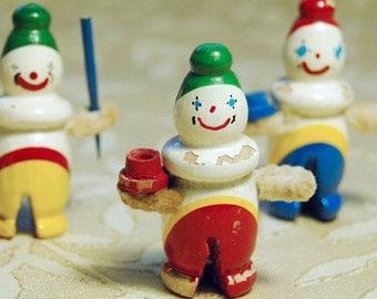Tiny Wood Snowmen Trio