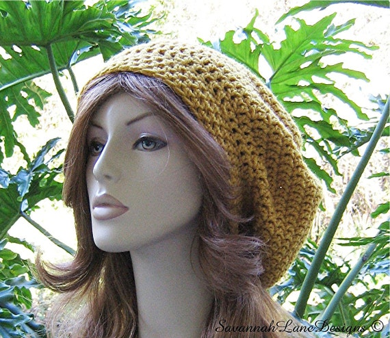 SHOP CLOSING Oct 31...Hats are 10 Dollars...Sungold Crocheted Ladies Slouchy Winter Hat...Ski Hat Beret Tam  Snood Rasta  ...  Ready-to-Ship