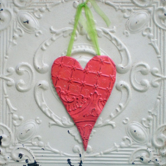Ceiling Tin Heart Vintage Metal Wall Art Watermelon Coral Pink Cottage Chic
