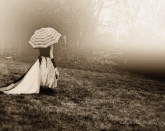 Haunting Girl With Umbrella  Sepia Toned  Photograph