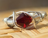 Swaroski Crystal January Garnet Sterling Silver Birthstone Ring - Sizes 4-11