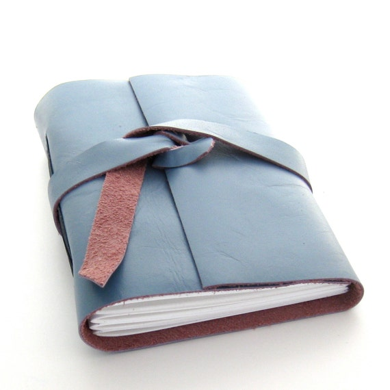 Periwinkle Blue Leather Journal and Sketchbook