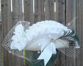 Pirate Hat White Wedding Bridal Hat with Veil and Feathers - Custom Order