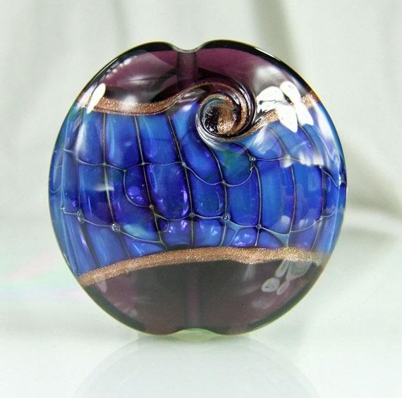 Deep Wine,Blue,Purple, Goldstone Lampwork Lentil Focal