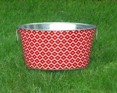 Galvanized Tub Medium Oval Storage Tub Red and White Mosaic Tile
