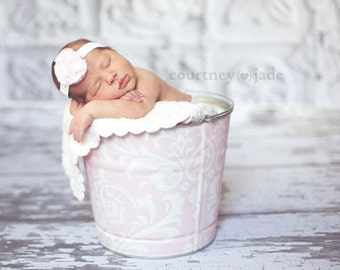 Shabby Petal Pink and White Damask Galvanized Bucket Newborn Baby Girl Photo Prop Chic