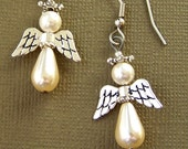 Pearl Angel Earrings - Holiday Earrings