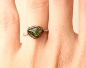 CUSTOM ORDER oxidized sterling silver Peridot ring 4.50