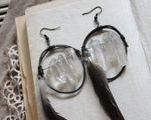 mystical crystal point hoop earrings with feathers