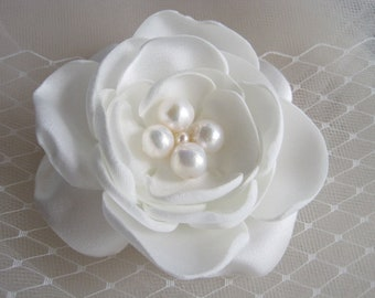 wedding bridal hair comb - ivory cream fabric flower bloom with freshwater pearls
