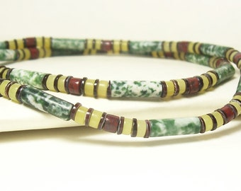 Mens, Unisex Necklace Green, Olive Yellow, Brown, Red and White - Woodland Cabin