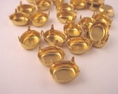 24 Pieces Brass Oval Prong Settings with NO RINGs 10x8