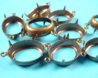 12 Brass Ox Oval Prong Settings 18x13 2 Ring Open Backs