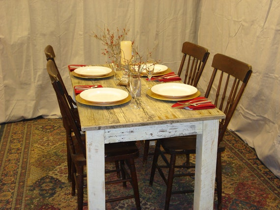 Dining Room Table Driftwood Beach House 54 X 30 29 Or 36H With Antique White Distressed Bottom