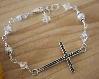 Cross Sideways Bracelet, Cross Bracelet, Crystal Cross Bracelet, Pearl Bracelet, Sterling Silver Cross Sideways