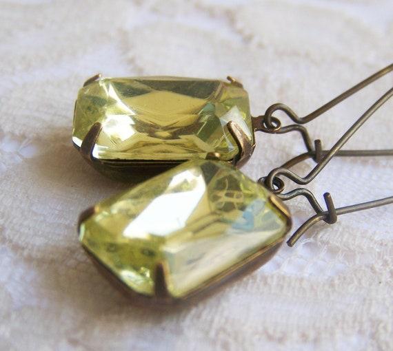 Citrine Vintage Jewel Earrings, glass jewel, antiqued patina