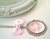 Unicorn fantasy cameo necklace in pink Gothic Lolita