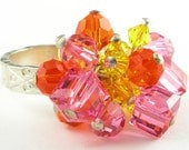 Orange Pink Yellow Crystal and Thai Silver Ring Size 7
