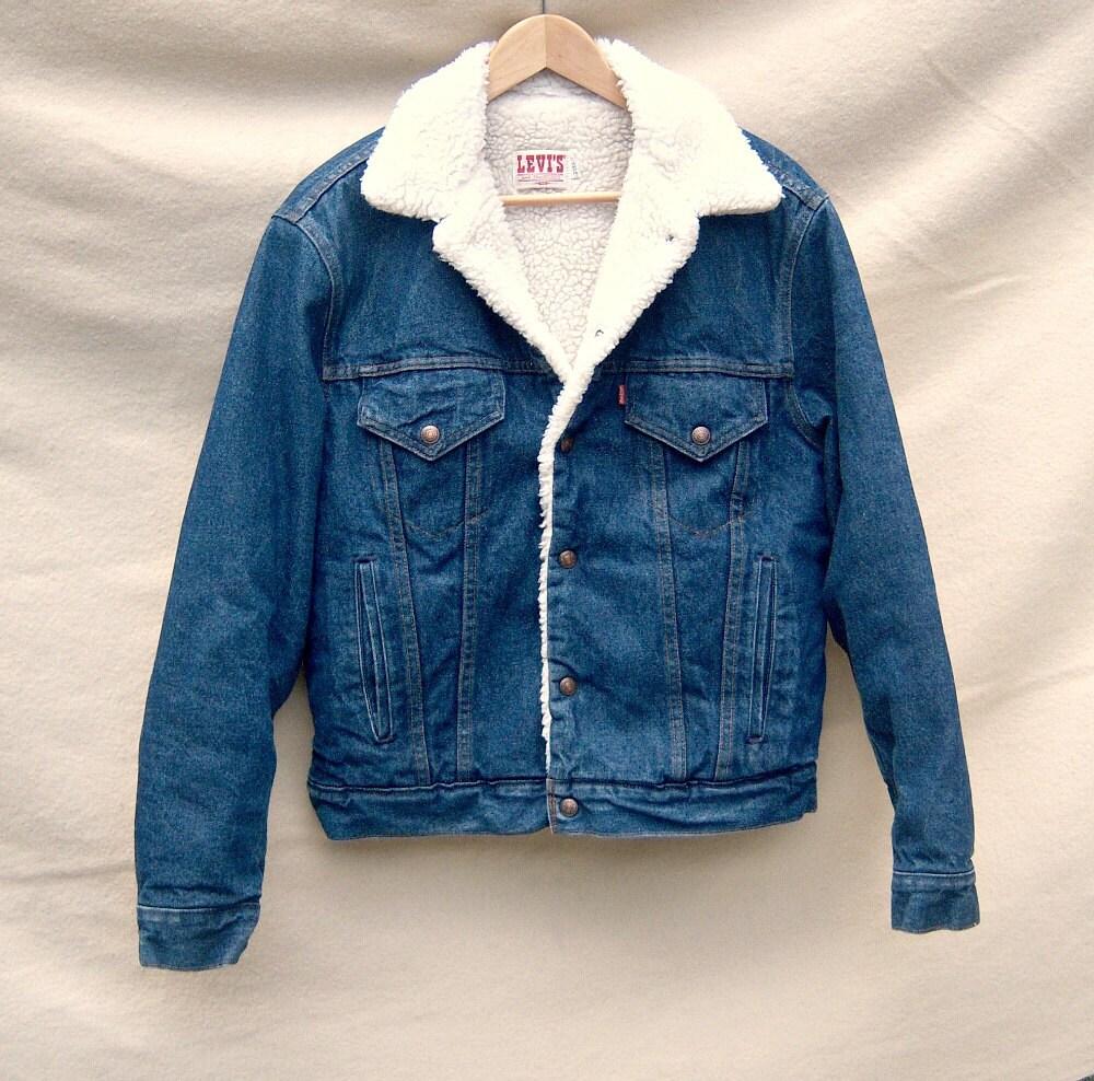 Vintage Levis Denim Sherpa Trucker Jacket Mens 40 Like