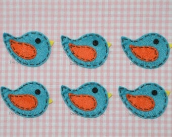 Set of 6pcs handmade felt birds--vivid turquoise (FT869)