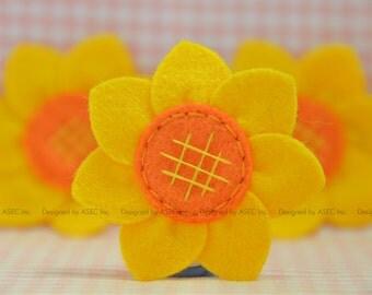 Set of 6pcs handmade felt sunflower--gold/pumpkin (FT945)
