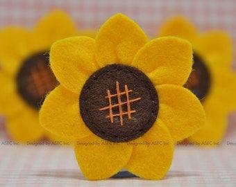 Set of 6pcs handmade felt sunflower--gold/dark brown (FT945)