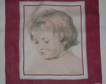 Vintage Kreier Hanky with Portrait of Boy Hankie Handkerchief