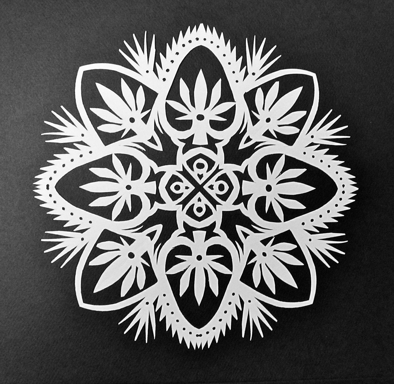 Holiday Weed Hand Cut Hanging Kirigami Mandala