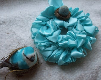 Ornament Collection 8 Wreath Bird Aqua Turquoise Nest