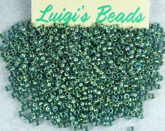 11/0 Round Toho Japanese Glass Seed Beads #284-Aqua/Gold Lined 15g