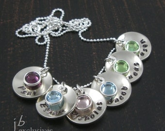 Personalized hand stamped mommy necklace - sterling silver chain - 6 baby name discs and birthstones - gift for friends, moms, grandmom