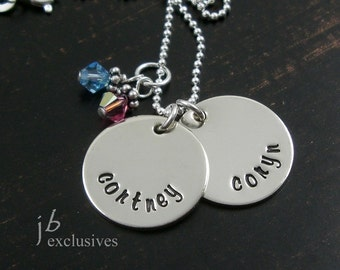 hand stamped personalized mommy necklace - sterling silver chain -  2 baby name disc and birthstone - gifts for moms, sisters, friends