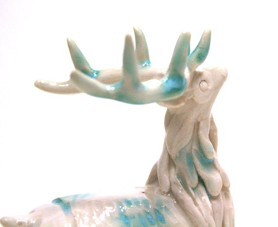 deer figurine -  Follow the White Stag - porcelain animal