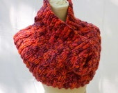 Bulky Cowl in Fiery Red Icelandic Wool - HuzzahHandmade