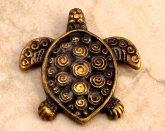 Mykonos Casting Turtle Pendant, Antique Brass M141