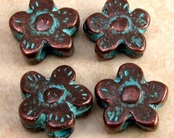 Mykonos Green Patina Metal Daisy Bead 4-Pieces M151
