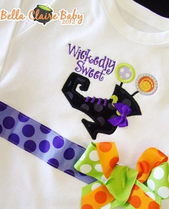 Size 4 ready to ship WICKEDLY SWEET witch boot monogrammed baby girl toddler LONG sleeved Ruffle shirt