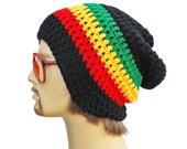 Slouch Rasta Beanie Mens or Unisex - Ultimate Slacker Striped Beanie Hat