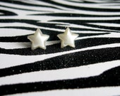 White Star Earrings, Pearly Studs, Simple Minimalist,  Kitsch Kawaii Celestial Jewelry