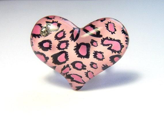 Pink Heart Ring, Leopard Print, Animal Print, Kawaii, Adjustable