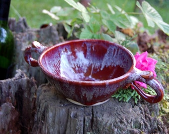 Custom Loving Cup or Ceremonial Quaich in Red Agate and Slate Blue - Made to Order