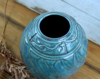 Carved Slate Blue Bottle